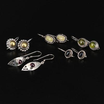 Sterling Dangle Earrings Including Rhodolite Garnet, Tourmaline and Black Onyx