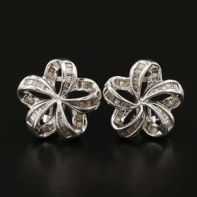 18K 1.00 CTW Diamond Ribbon Earrings