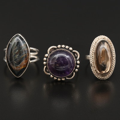 Sterling Silver Rings Featuring Pietersite, Amethyst, and Smoky Quartz