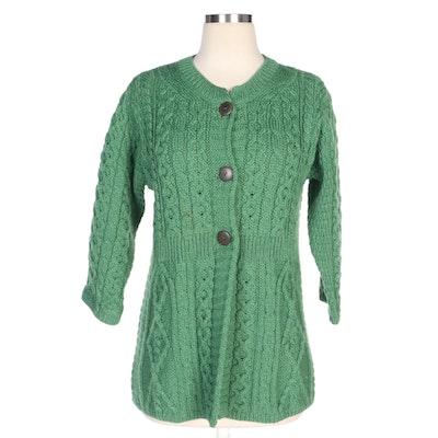 Irish Made Kilronan Knitwear Green Merino Wool Cardigan