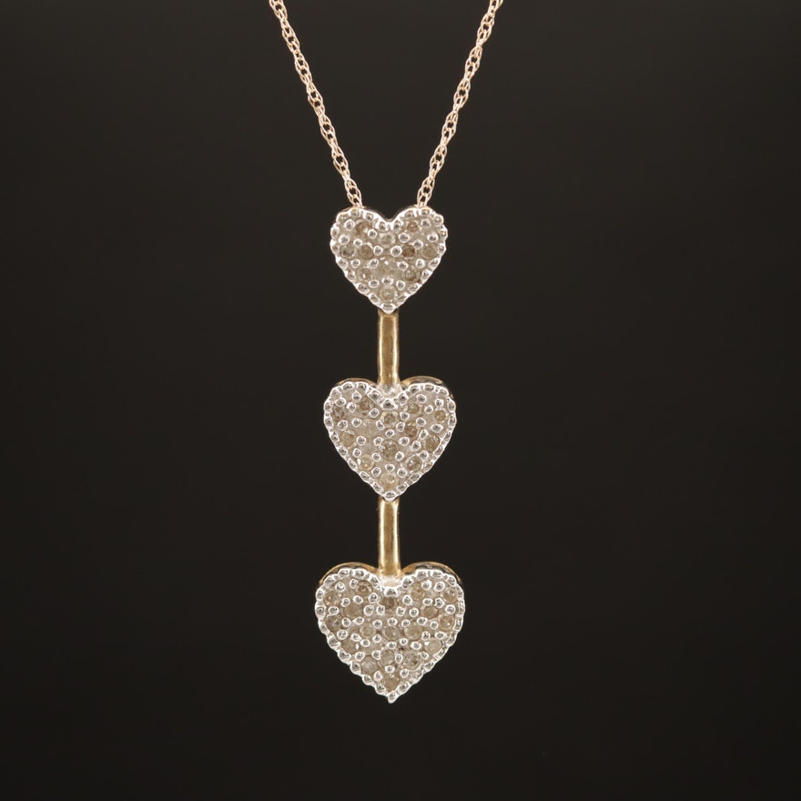 10K Diamond Graduated Heart Pendant with 14K Chain Necklace