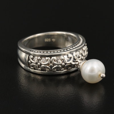 Sterling Silver Pearl Charm Ring