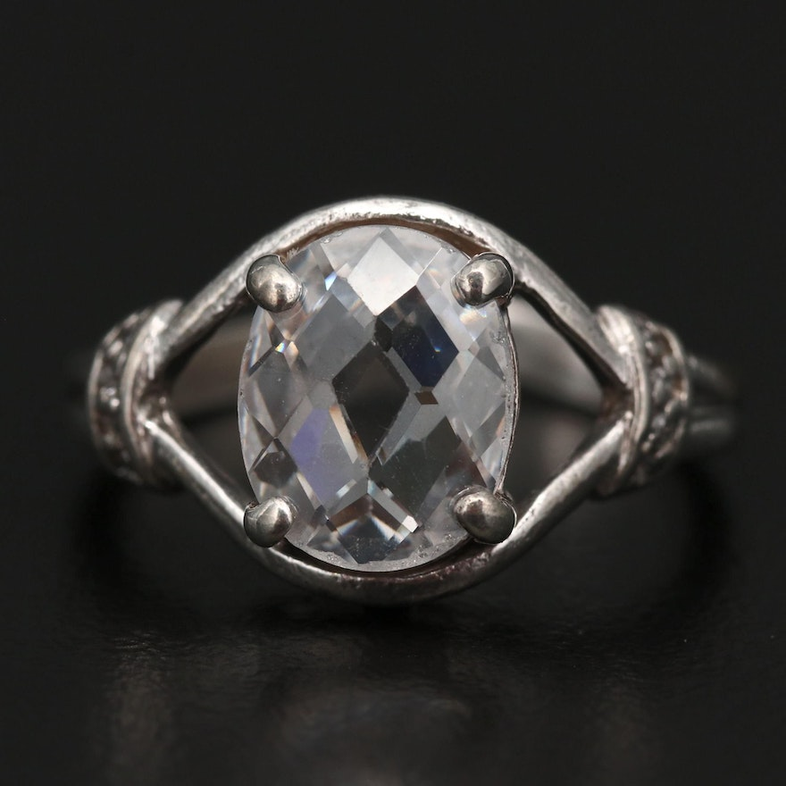 Sterling Silver Checkerboard Glass Cut Ring