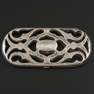 Sterling Silver Openwork Eyeglass Case with Engraving, Early 20th Century