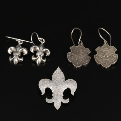 Sterling Silver Fleur-de-lis Themed Earrings and Pendant