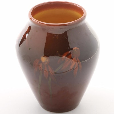 Edith Regina Felton Rookwood Pottery Brown Glazed Vase, 1900