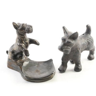 Cast Iron Scottish Terrier Figurine and Metal Pin Dish