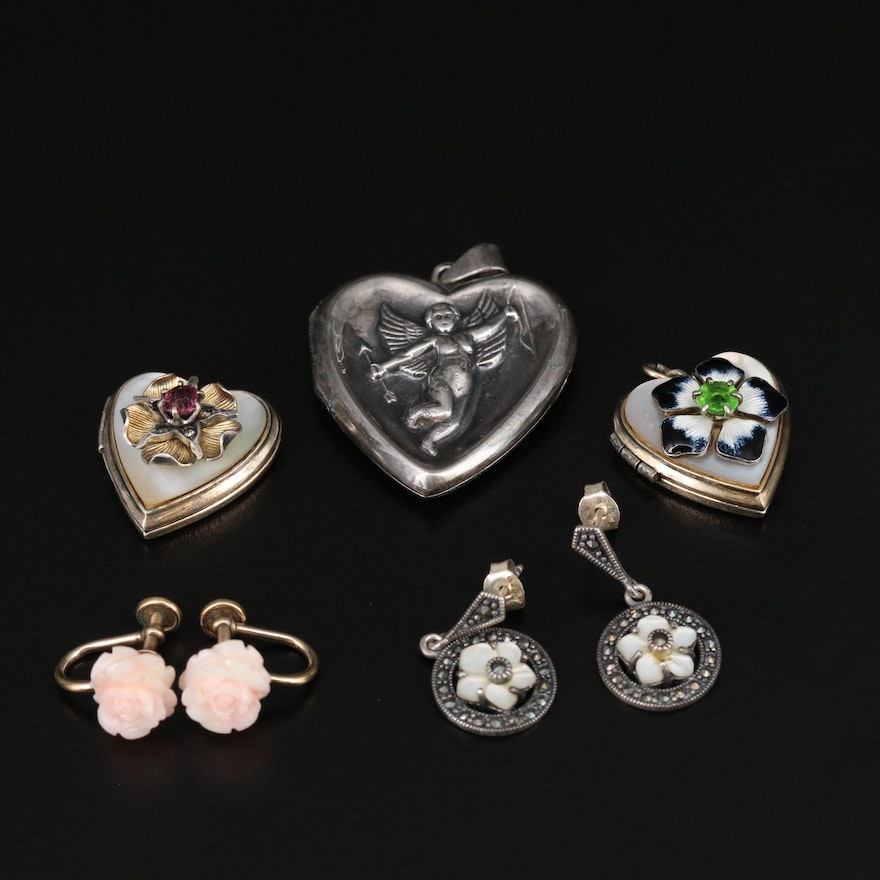 Sterling Silver Coral, Mother of Pearl and Marcasite Lockets and Earrings