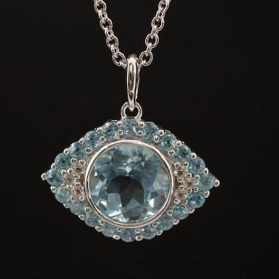 Sterling Topaz Evil Eye Pendant Necklace