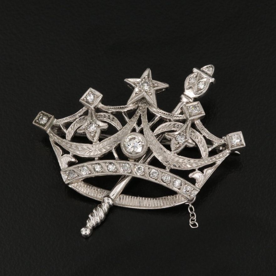 14K Diamond Crown and Scepter Brooch