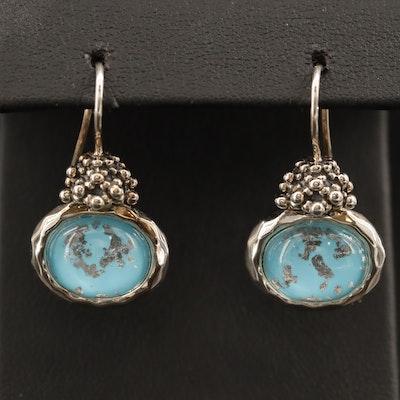 Michael Dawkins Sterling Rock Quartz Crystal Doublet Drop Earrings