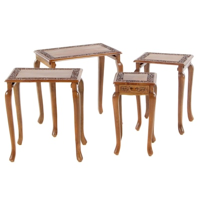 Set of Foliate-Carved Hardwood Quartetto Tables