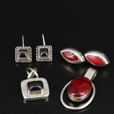 Sterling Silver Earrings and Pendant Sets Featuring Glass and Resin Accents