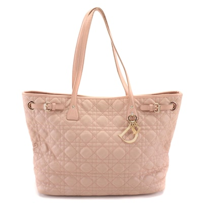 Christian Dior Panarea Medium Tote Bag in Pink Cannage Quilted Coated Canvas