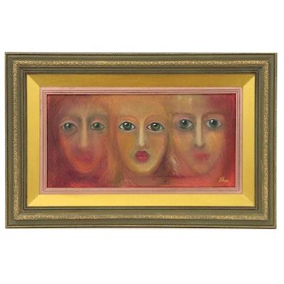 "Thea Mamukelashvili Oil Painting of Faces ""Arrival"""
