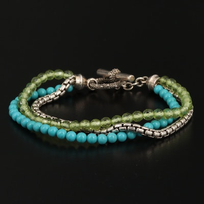 Michael Dawkins Sterling Peridot and Turquoise Bracelet