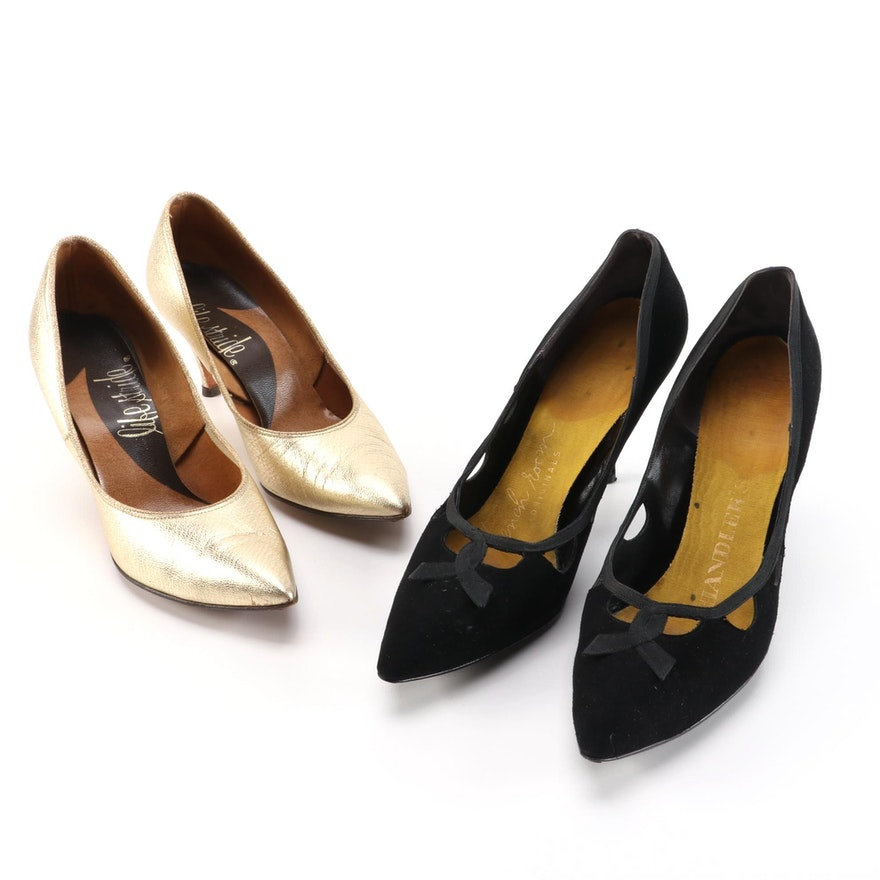 College Debs and LifeStride Black Suede and Metallic Leather Pumps
