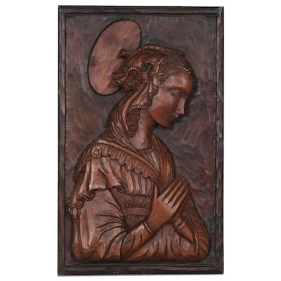 Carved Wood Portrait of St. Mary