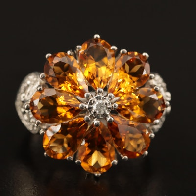 Sterling Silver Citrine and Diamond Ring with Heart Accented Shoulders