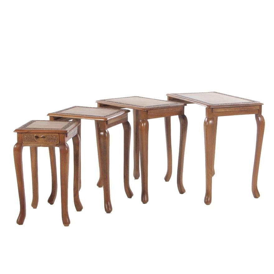 Set of Floral-Carved Hardwood Quartetto Tables