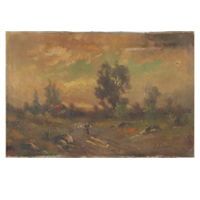 Pastoral Road Scene with Sheep Oil Painting, Late 19th to Early 20th Century