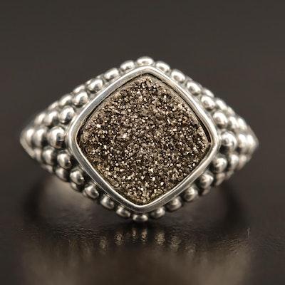 Michael Dawkins Sterling Silver Druzy Quartz Ring.