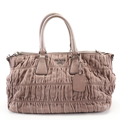 Prada Double Zip Large Tote Bag in Taupe Napa Gaufre Leather
