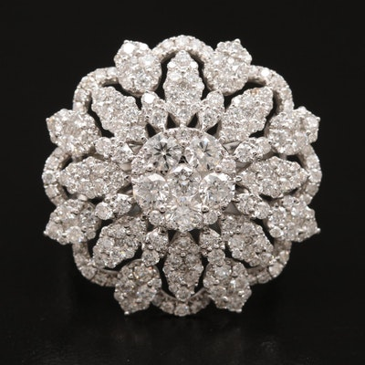 18K 2.75 CTW Diamond Snowflake Cluster Ring