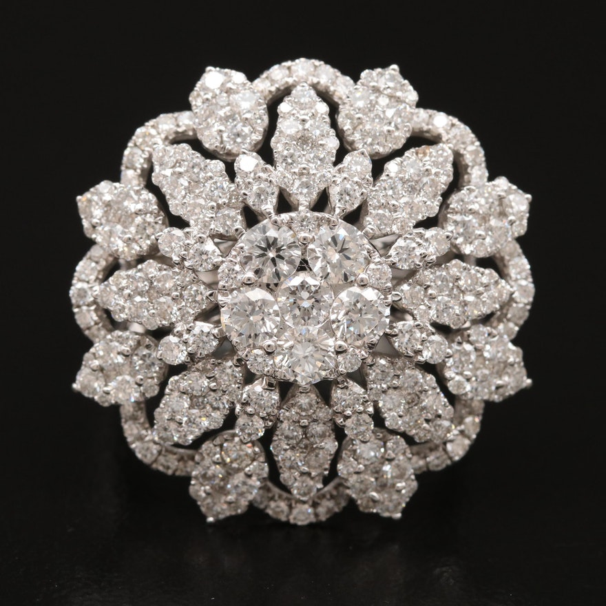 18K 2.75 CTW Diamond Snowflake Cluster Ring