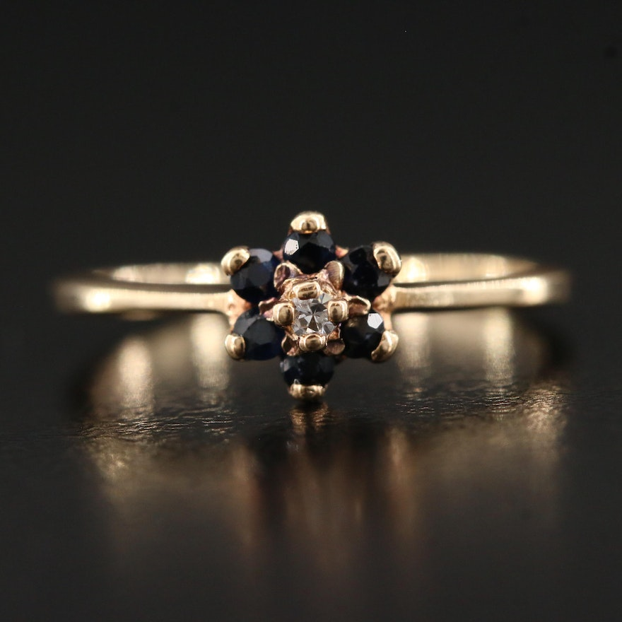 10K Diamond and Blue Sapphire Ring