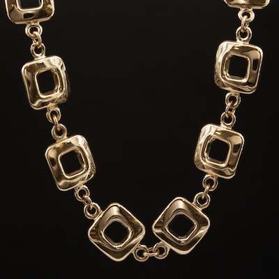 14K Square Station Link Necklace