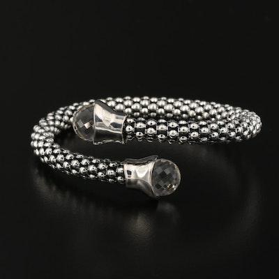 Michael Dawkins Sterling Silver Rock Crystal Quartz Bypass Bracelet