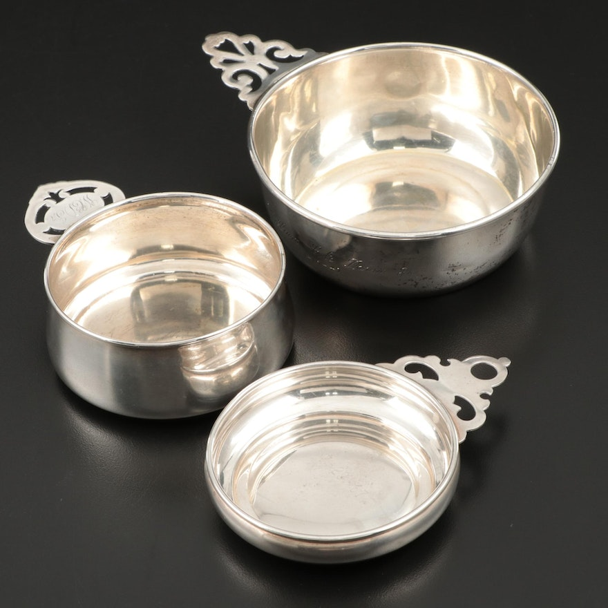 Gorham Sterling Silver Wine Taster Cup with Other Sterling Silver Porringers