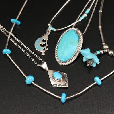 Southwestern Style Turquoise Pendant Necklaces Featuring Kokopelli Pendant