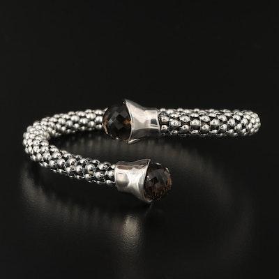 Sterling Silver Smoky Quartz Popcorn Bracelet with Bypass Design