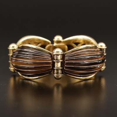 18K Tiger's Eye Hinged Link Bangle Bracelet