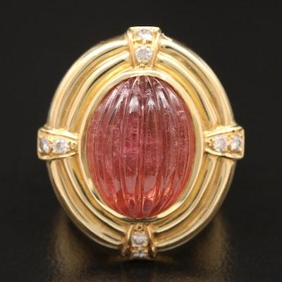 18K 16.45 CT Pink Tourmaline and Diamond Ribbed Ring