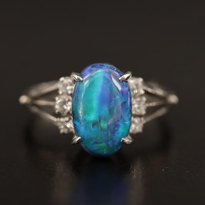 Platinum Boulder Opal Ring with Diamond Accents