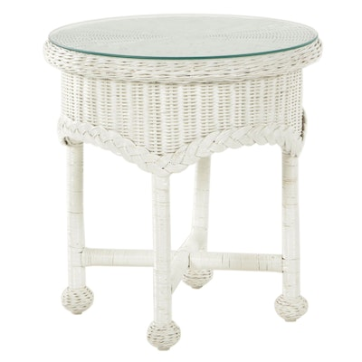White-Painted Wicker Side Table