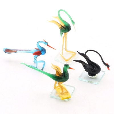 Blown Glass Bird Figurines, Mid to Late 20th Century