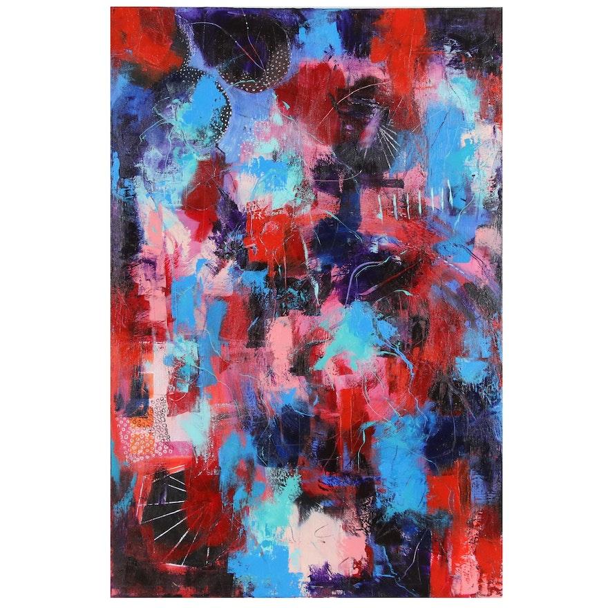 "Sanna Abstract Acrylic Painting ""Coming to Life"""