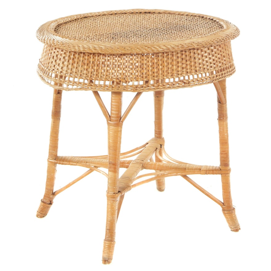 Brown Wicker Side Table, 20th Century