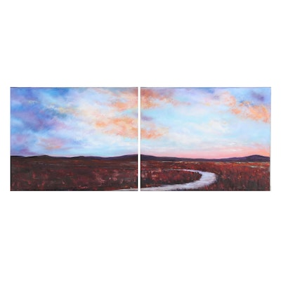 "Sanna Diptych Acrylic Painting of River Scene ""Meandering"""