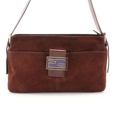 Fendi Shoulder Bag in Brown Suede and Leather with Two-Tone Enamel FF Logo