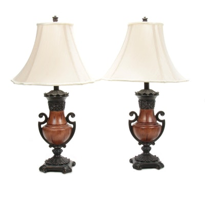 Wood and Metal Urn Pair of Table Lamps