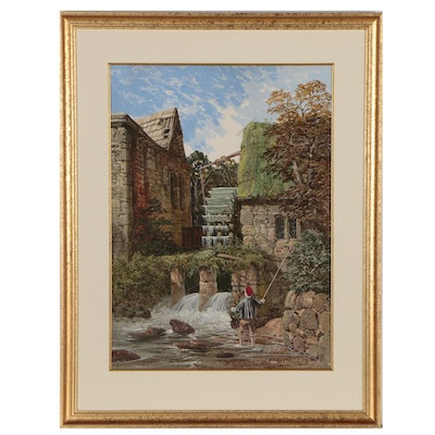 Boy Fishing at an Old Mill Gouache Painting, Mid 20th Century