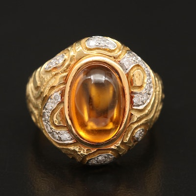 18K Citrine and Diamond Etched Motif Ring