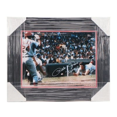 "Pete Rose Signed ""Safe"" Chicago Cubs Wrigley Field Framed Photo Print"
