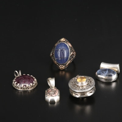950 and Sterling Pendants and Ring with Sodalite, Corundum and Citrine