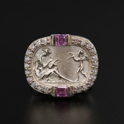 SeidenGang Sterling Sapphire and Cubic Zirconia Ring Displaying Classical Scene
